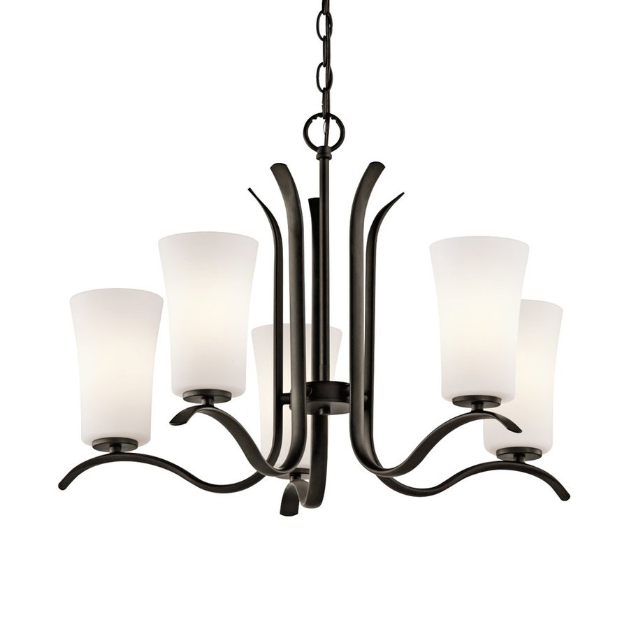 Kichler Armida 25.25-in 5-Light Olde Bronze Hardwired Etched Glass Shaded Chandelier