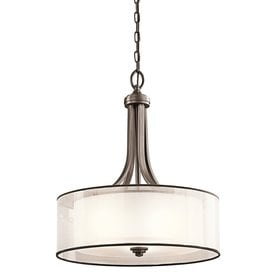 Shop drum pendants at lowes kichler lacey 20 in mission bronze hardwired single etched glass drum pendant aloadofball Image collections