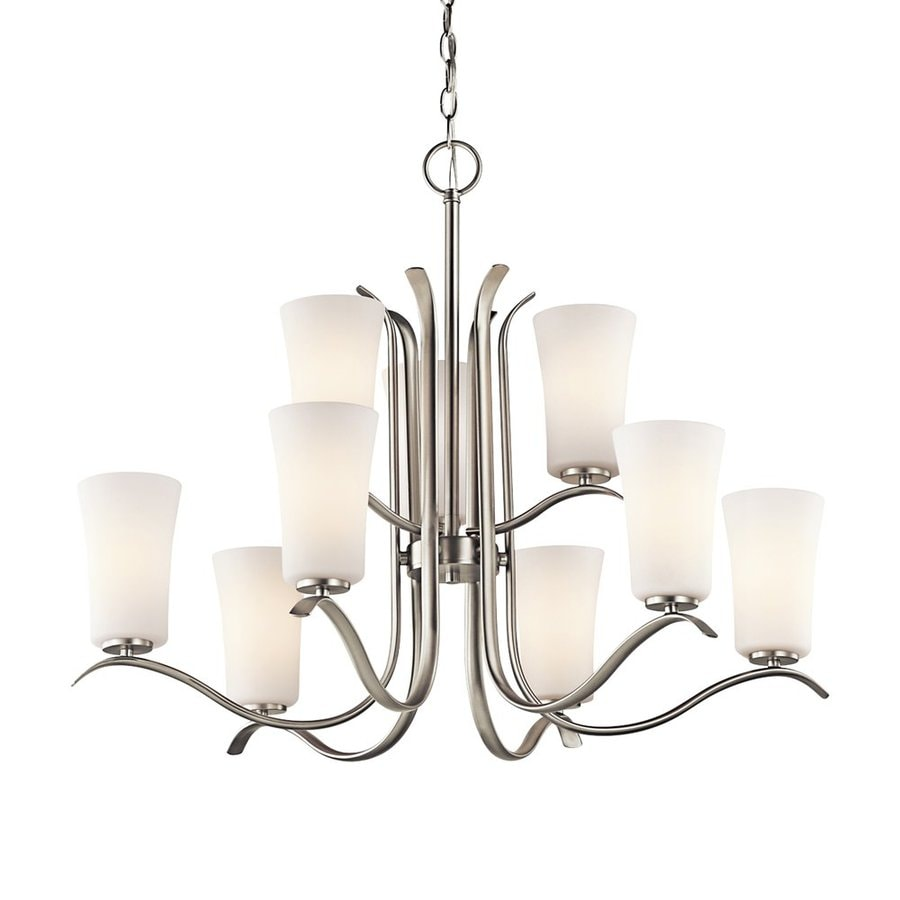 Kichler Lighting Armida 32.5-in 9-Light Brushed Nickel Etched Glass Tiered Chandelier