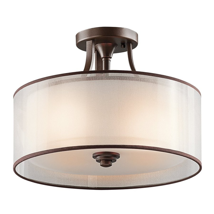 Kichler Lighting Lacey 15-in W Mission Bronze Etched Glass Semi-Flush Mount Light