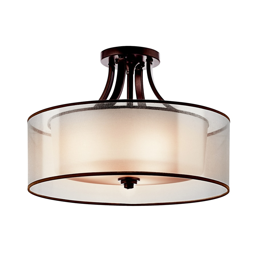 Kichler Lacey 20-in W Mission Bronze Etched Glass Semi-Flush Mount Light