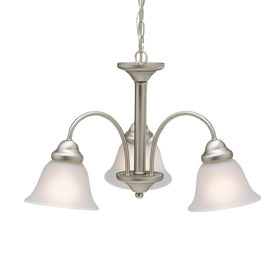 Kichler Wynberg 22-in 3-Light Brushed nickel Vintage Alabaster Glass Shaded Chandelier