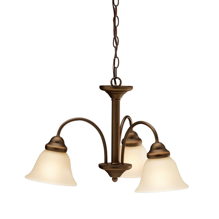 Kichler Wynberg 22-in 3-Light Olde Bronze Etched Glass Shaded Chandelier