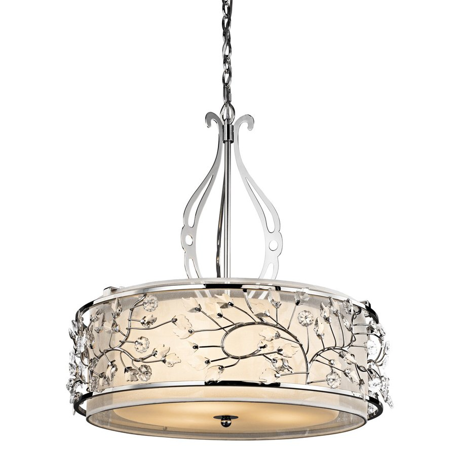Kichler Jardine 24-in Chrome Vintage Hardwired Single Etched Glass Drum Pendant