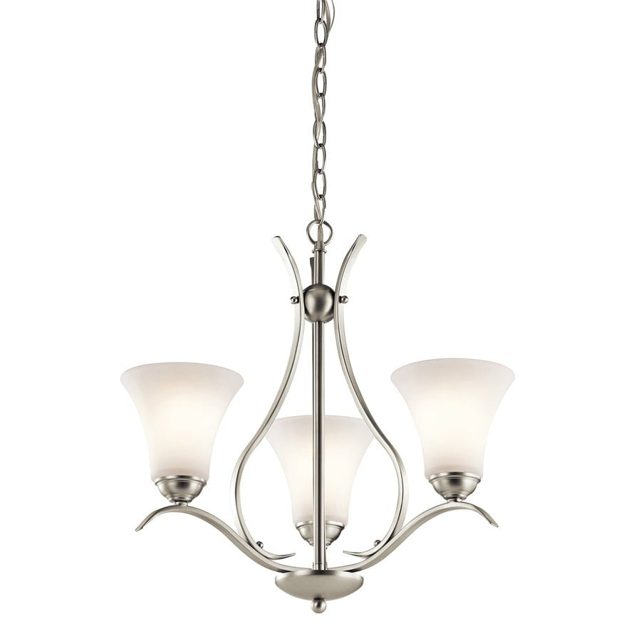 Kichler Keiran 20.75-in 3-Light Brushed Nickel Etched Glass Shaded Chandelier