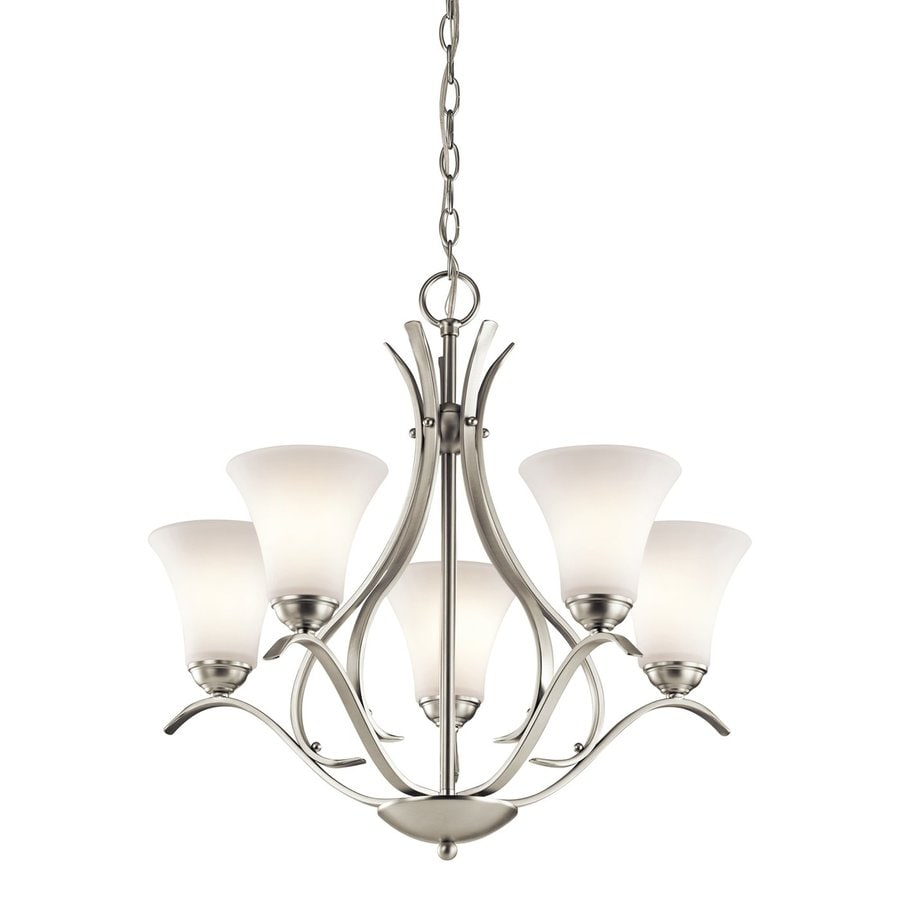 Kichler Keiran 24.5-in 5-Light Brushed nickel Etched Glass Shaded Chandelier