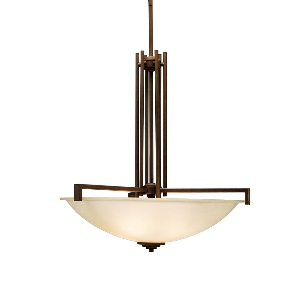 Kichler Lighting Eileen 25.75-in Olde Bronze Hardwired Single Etched Glass Bowl Pendant