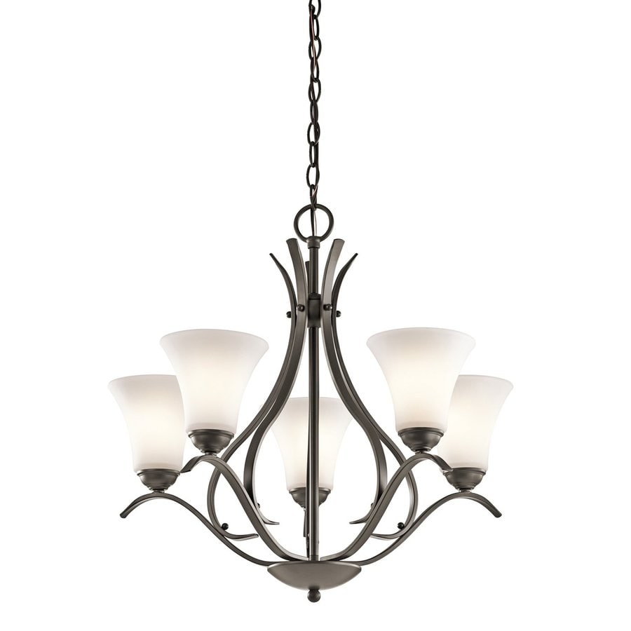 Kichler Keiran 24.5-in 5-Light Olde Bronze Etched Glass Shaded Chandelier