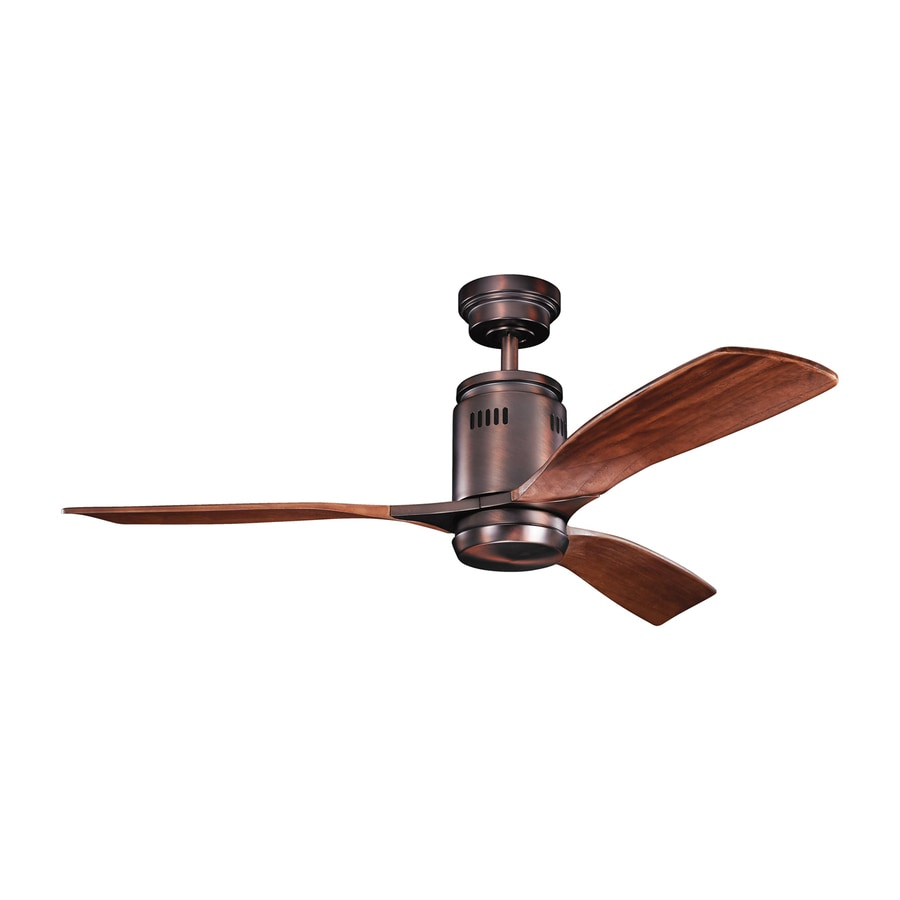 Kichler Lighting Ridley 52-in Oil Brushed Bronze Downrod Mount Indoor Ceiling Fan with Light Kit and Remote (3-Blade)