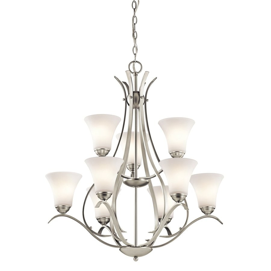 Kichler Lighting Keiran 29-in 9-Light Brushed Nickel Etched Glass Tiered Chandelier