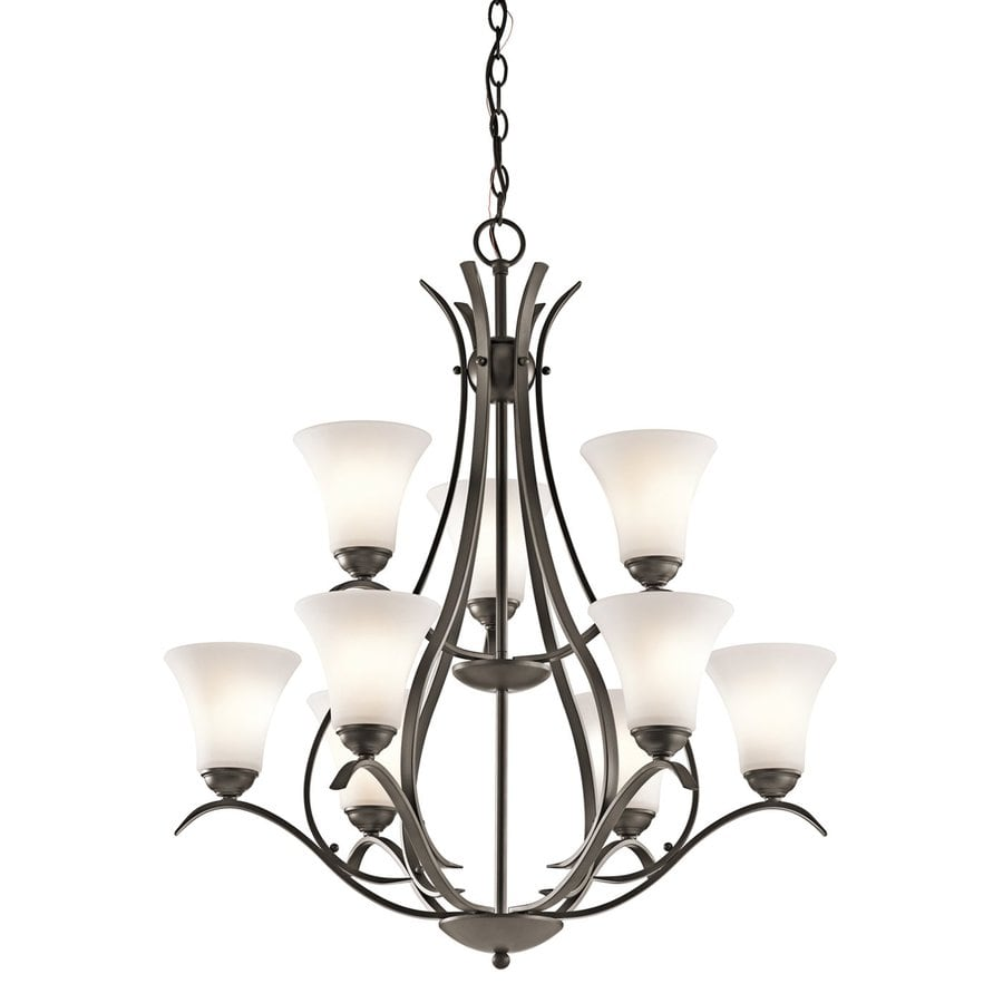 Kichler Keiran 29-in 9-Light Olde Bronze Hardwired Etched Glass Tiered Chandelier