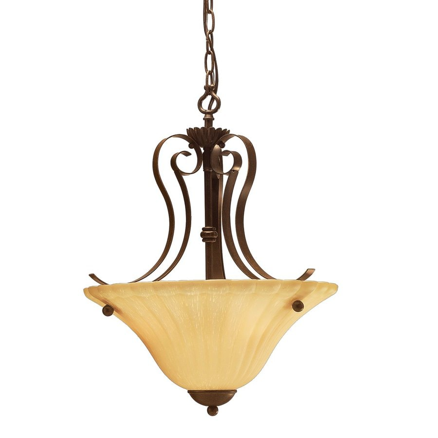 Kichler Willowmore 16-in Tannery Bronze Country Cottage Hardwired Single Etched Glass Bowl Pendant