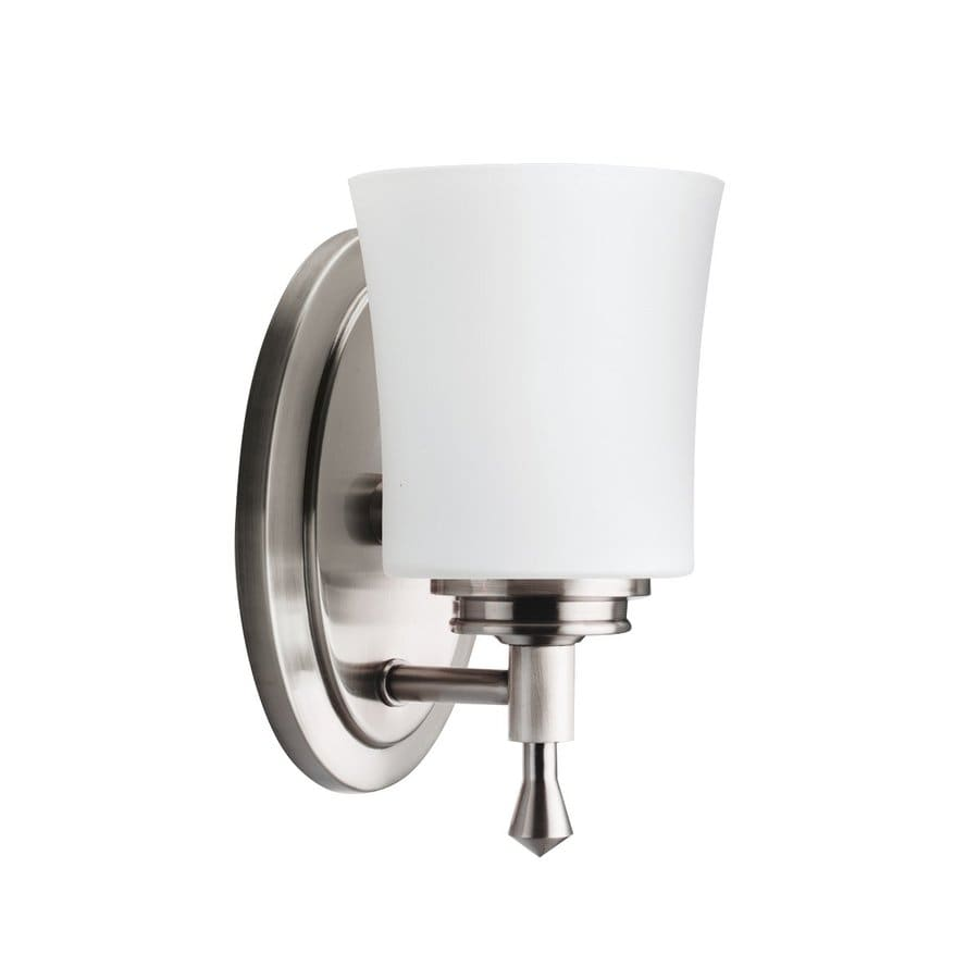 bathroom lighting brushed nickel shop kichler wharton 1 light 4 75 in brushed nickel bell 16125
