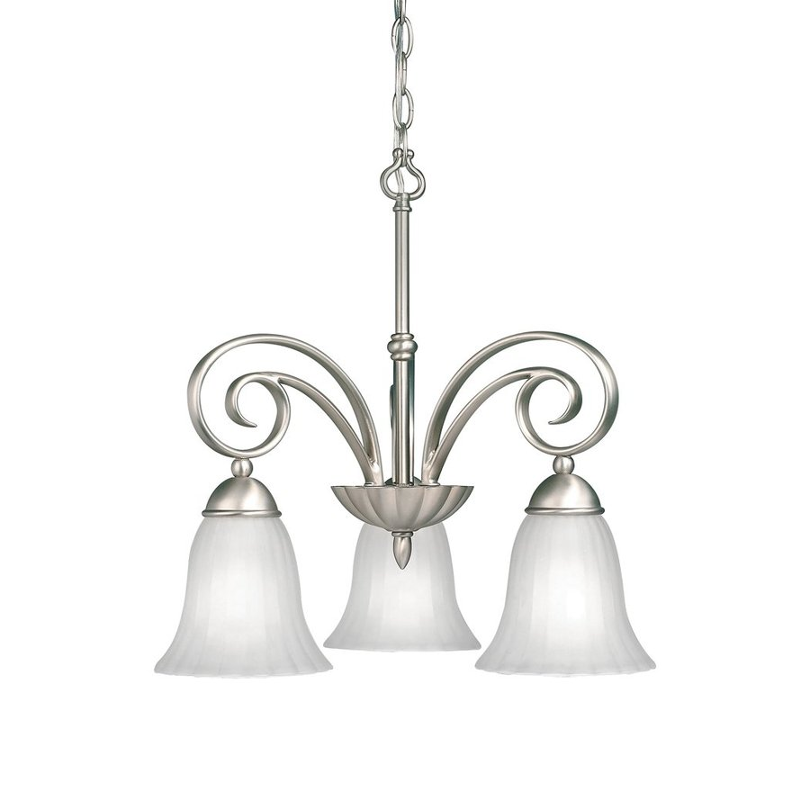 Kichler Willowmore 19-in 3-Light Brushed Nickel Country Cottage Etched Glass Shaded Chandelier