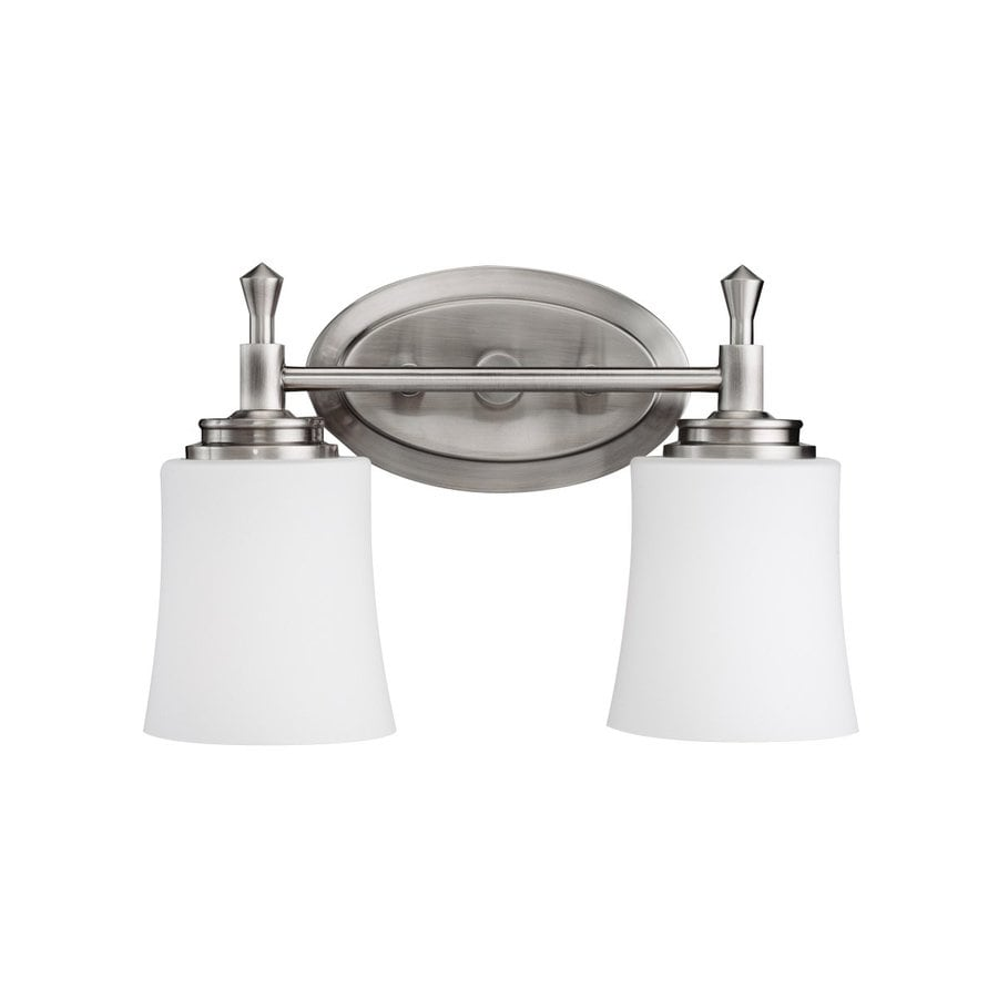 kichler bathroom lighting shop kichler wharton 2 light 13 75 in brushed nickel bell 13301