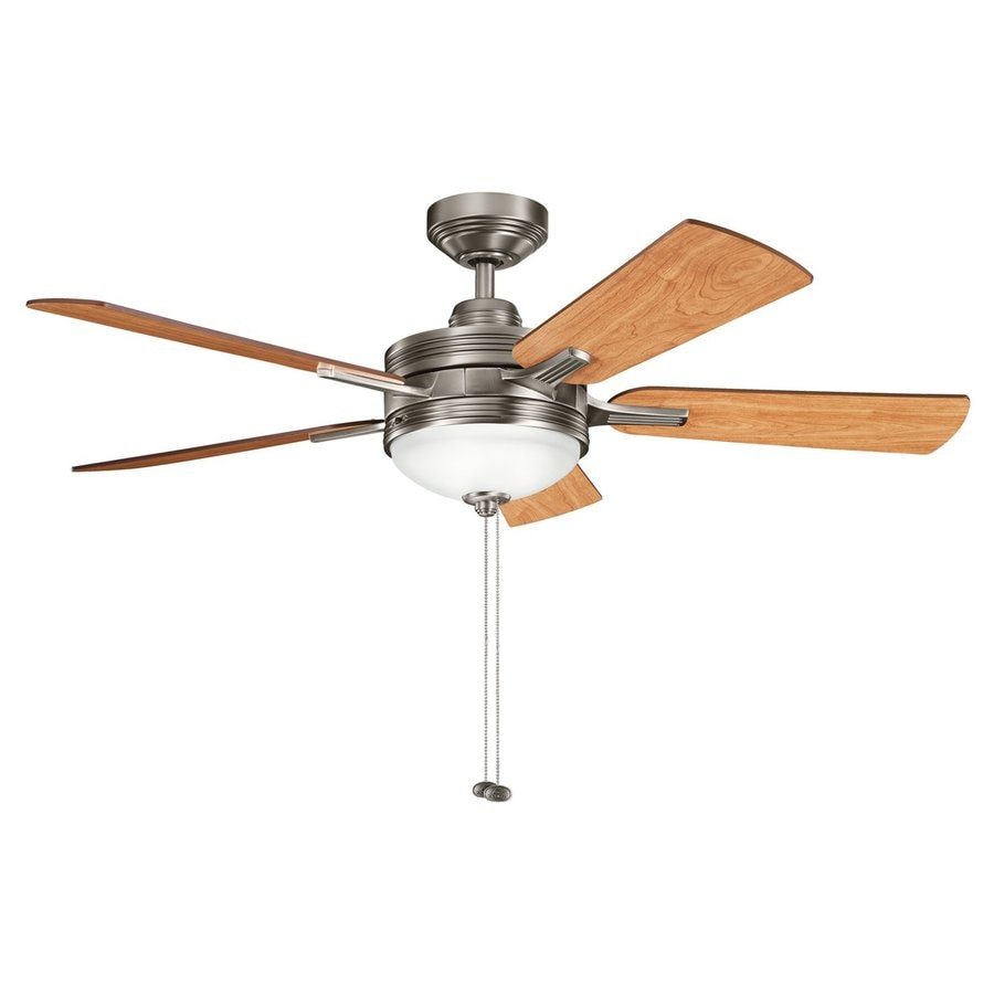 Kichler Lighting Logan 52-in Antique Pewter Downrod Mount Indoor Ceiling Fan with Light Kit (5-Blade)