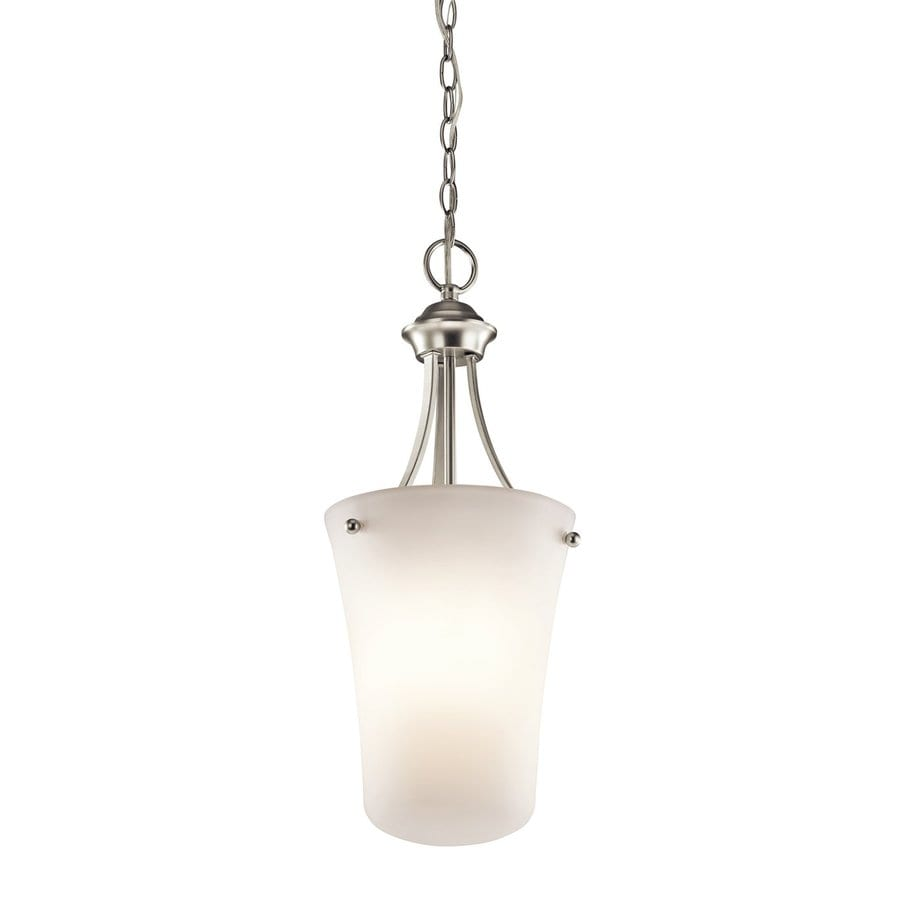 Kichler Lighting Keiran 10.5-in Brushed Nickel Hardwired Single Etched Glass Urn Pendant