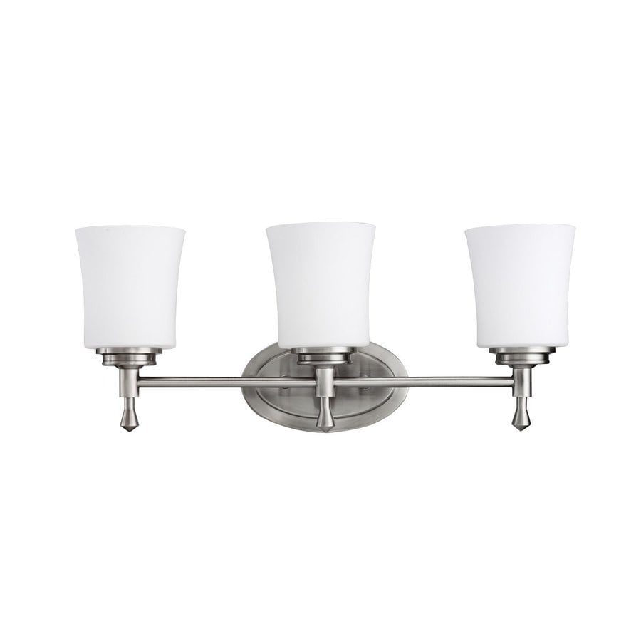 Shop kichler wharton 3 light 9 in brushed nickel bell for Three light bathroom fixture