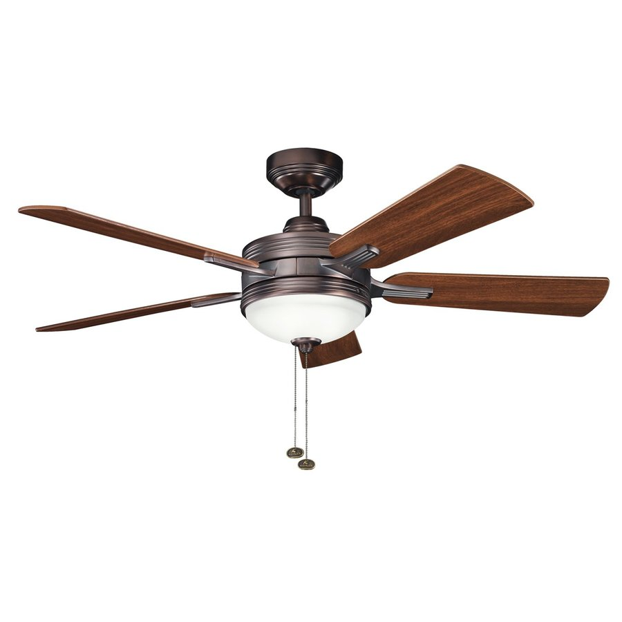 Kichler Logan 52-in Oil Brushed Bronze Standard Indoor Residential Downrod Mount Ceiling Fan with Light Kit (5-Blade)