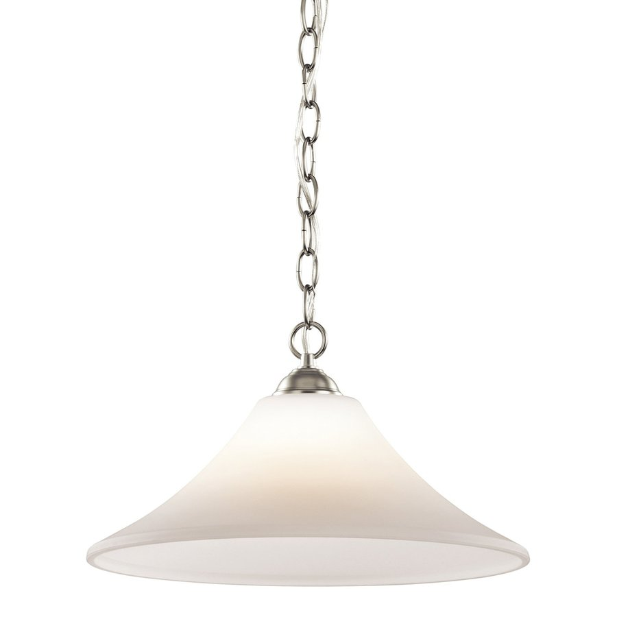 Kichler Lighting Keiran 15-in Brushed Nickel Country Cottage Single Etched Glass Bell Pendant