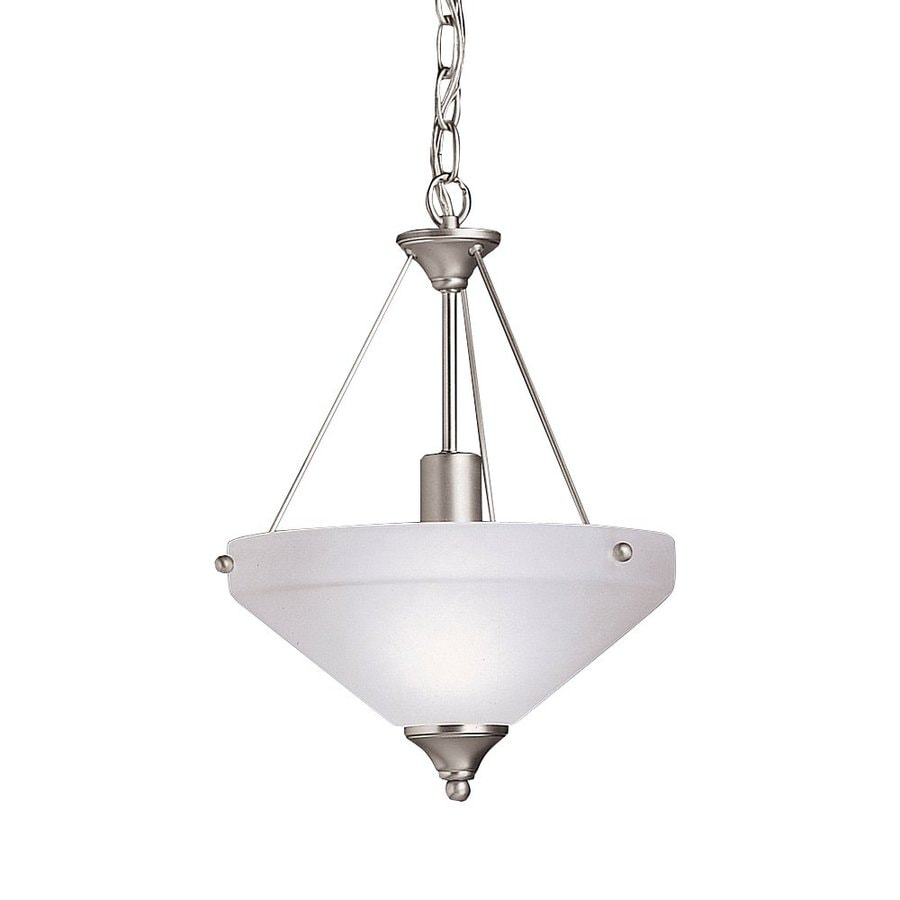 Kichler Ansonia 12-in Brushed Nickel Hardwired Single Etched Glass Bowl Pendant