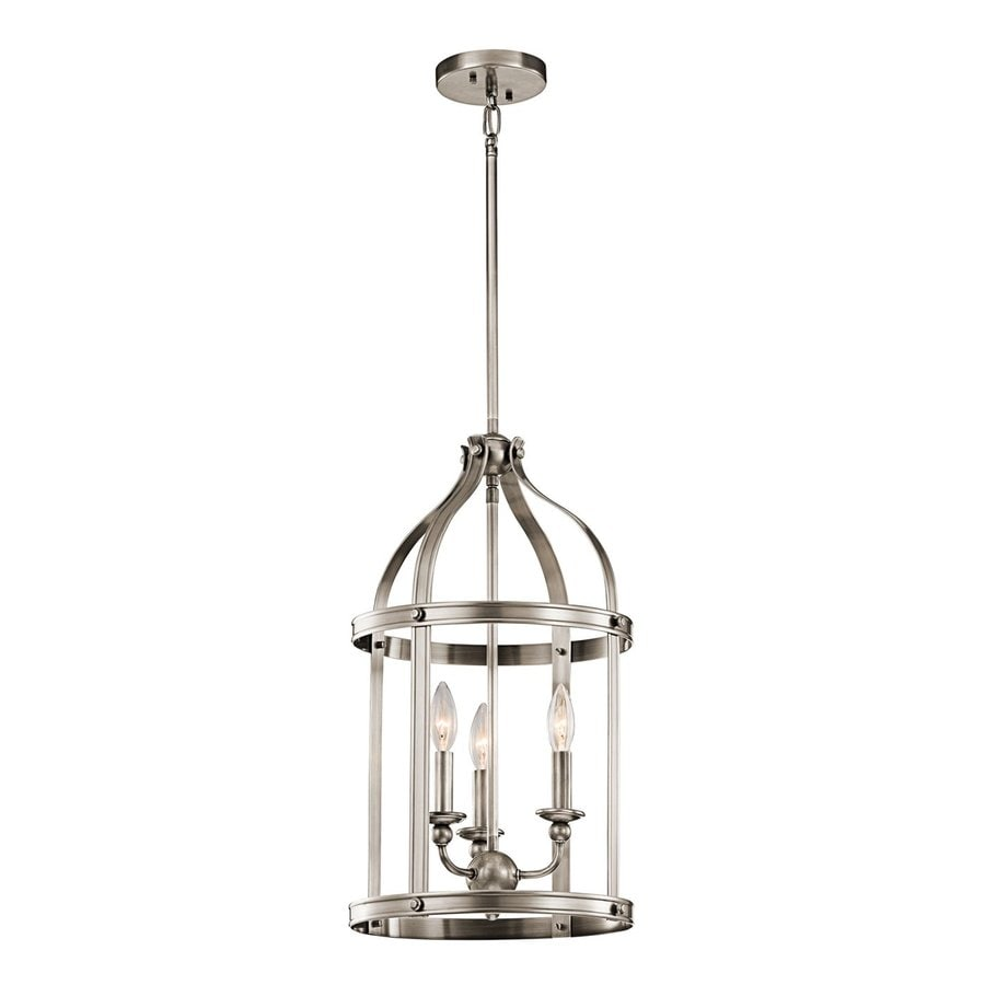 Kichler Steeplechase 13-in Classic Pewter Country Cottage Hardwired Single Cage Pendant