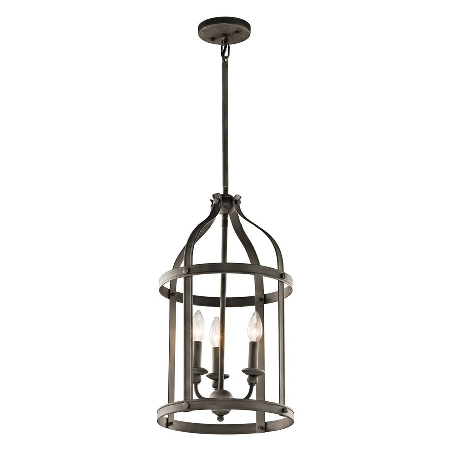 Kichler Steeplechase 13-in Olde Bronze Country Cottage Hardwired Single Cage Pendant
