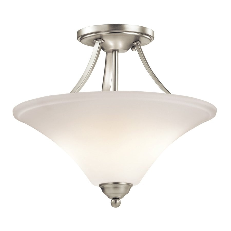 Kichler Keiran 15-in W Brushed Nickel Etched Glass Semi-Flush Mount Light