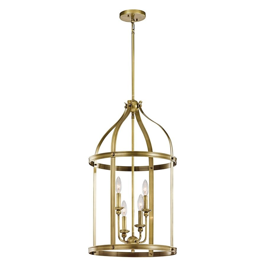 Kichler Lighting Steeplechase 17-in Natural Brass Country Cottage Hardwired Single Cage Pendant