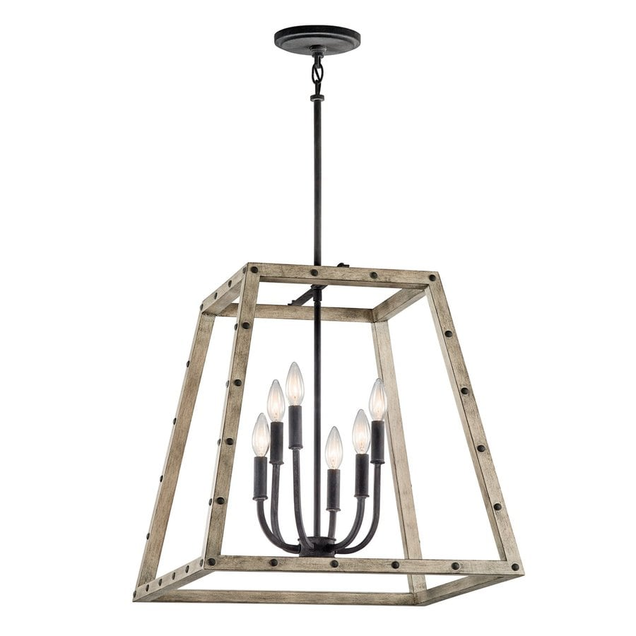 Kichler Basford 21-in 6-Light Distressed antique gray Rustic Cage Chandelier