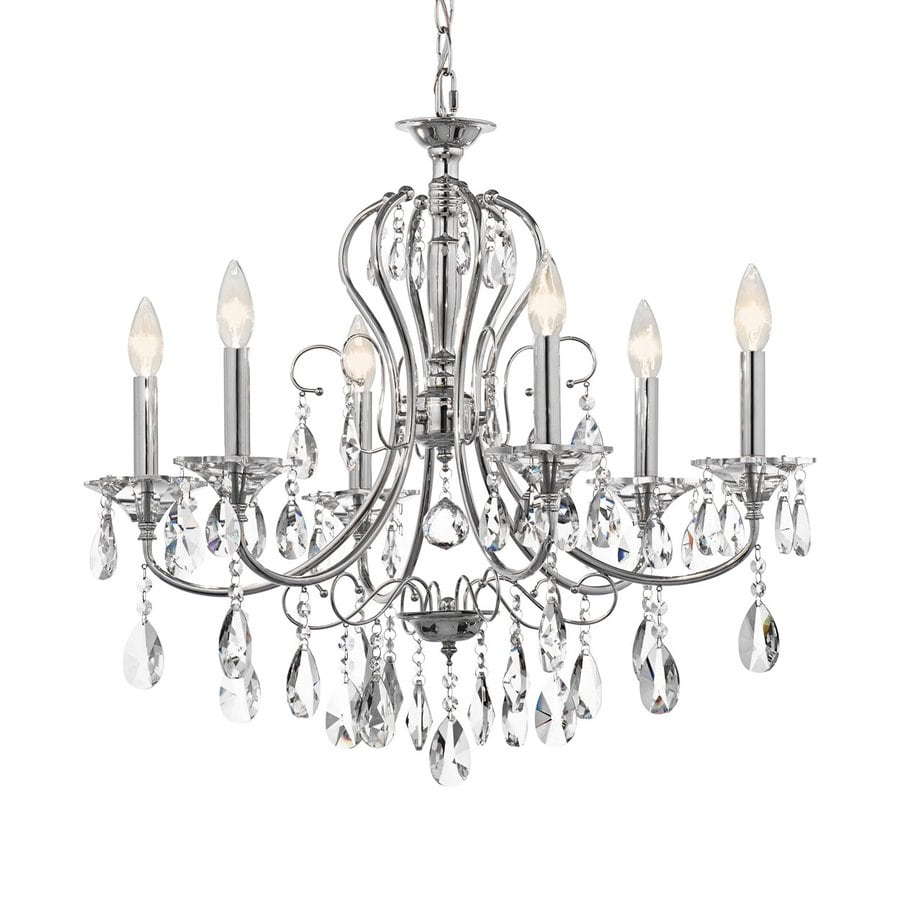 Kichler Jules 25.25-in 6-Light Chrome Crystal Candle Chandelier