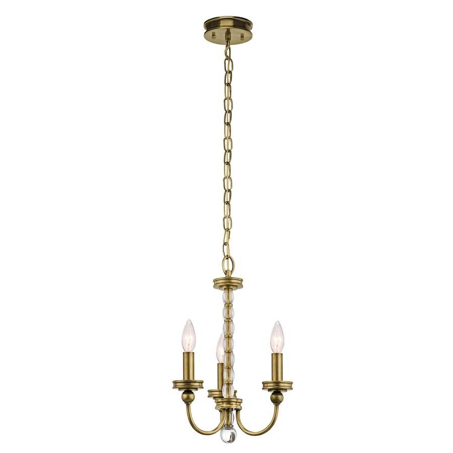 Kichler Lighting Rossington 12.25-in 3-Light Natural Brass Vintage Candle Chandelier