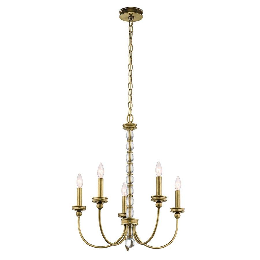 Kichler Lighting Rossington 24-in 5-Light Natural Brass Vintage Candle Chandelier