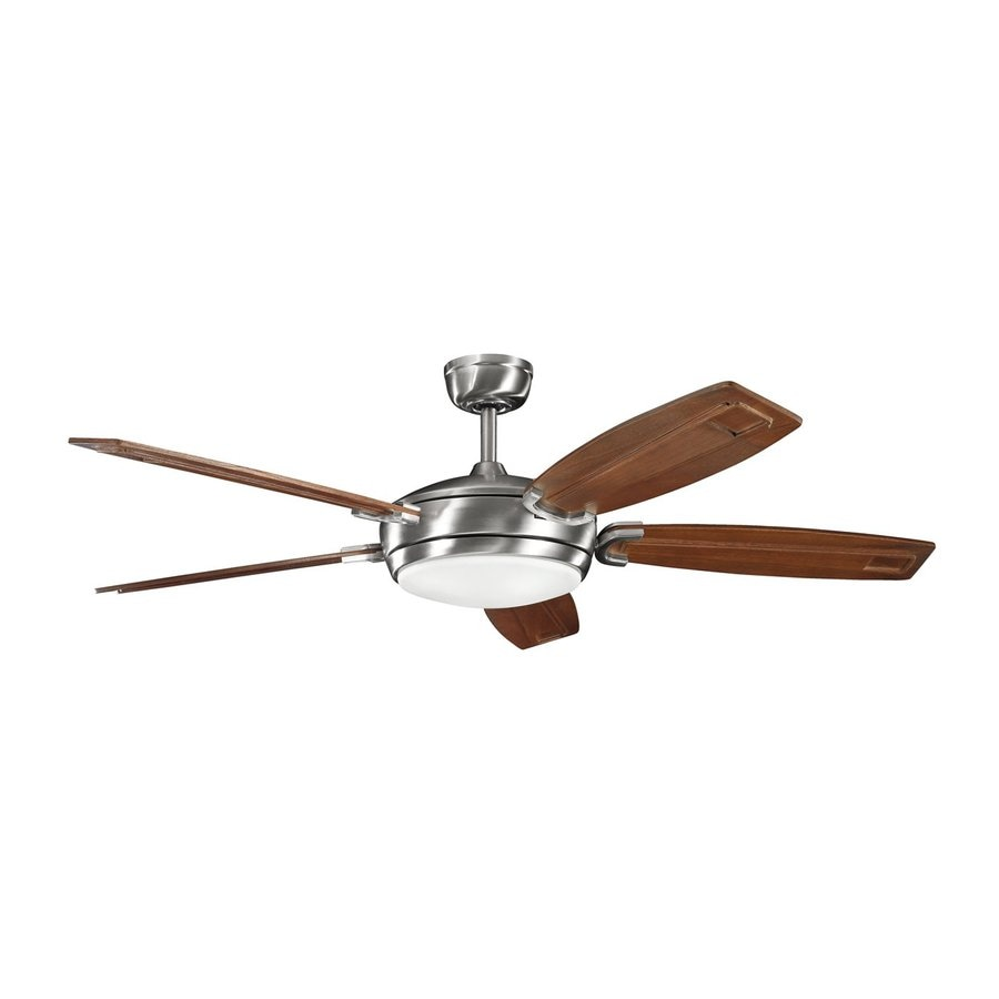 Stainless steel ceiling fan with light and remote : Kichler trevor in brushed stainless steel downrod