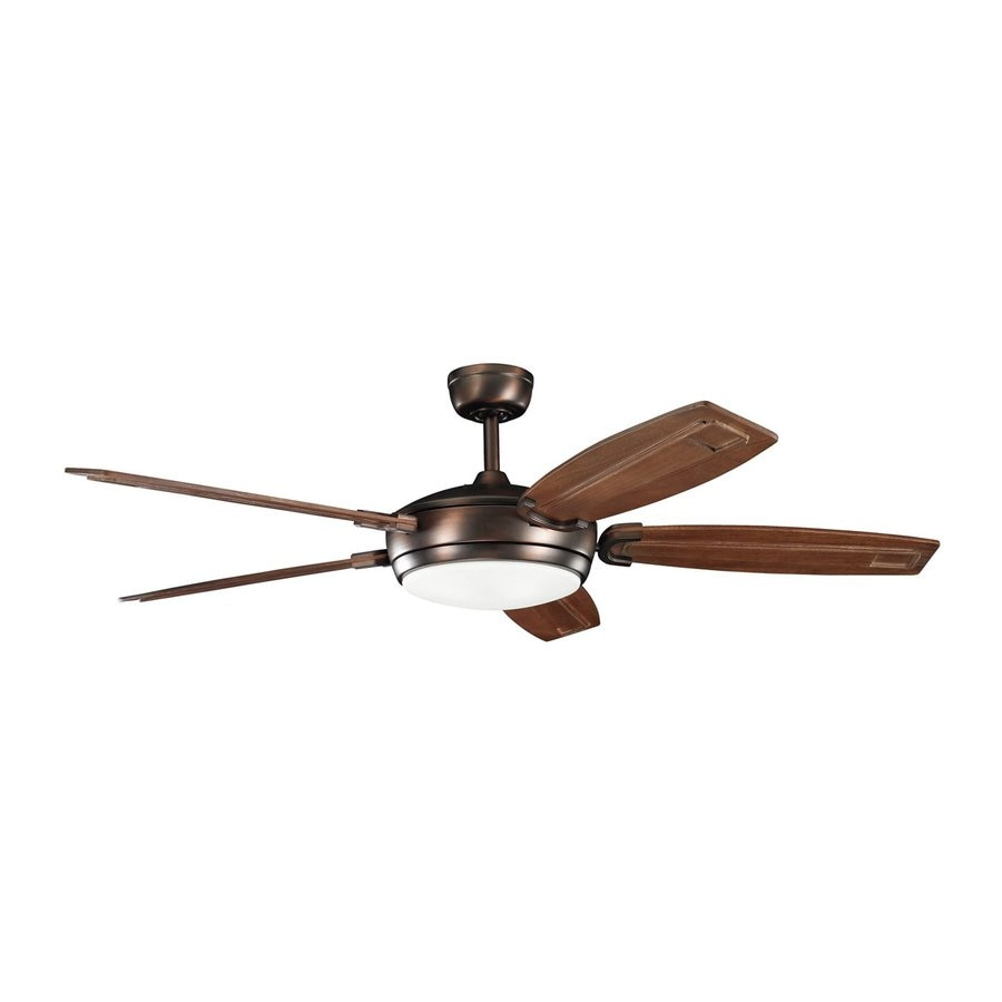 Kichler Trevor 60-in Oil brushed bronze Indoor Downrod Mount Ceiling Fan with Light Kit and Remote