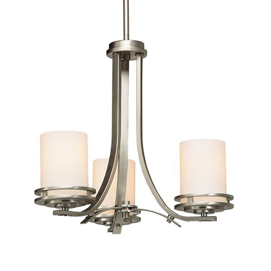 Kichler Hendrik 19-in 3-Light Brushed Nickel Etched Glass Shaded Chandelier