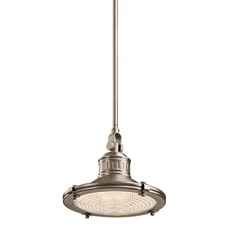 Kichler Lighting Sayre 10-in Antique Pewter Industrial Hardwired Single Textured Glass Warehouse Pendant