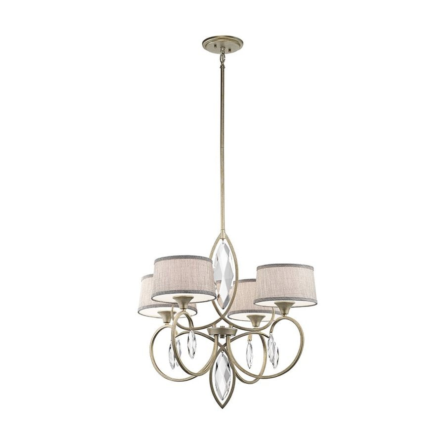 Kichler Casilda 29-in 4-Light Sterling Gold Crystal Hardwired Shaded Chandelier