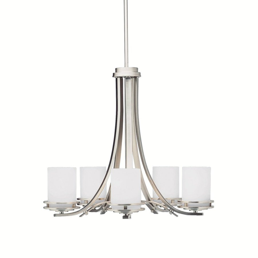 Kichler Lighting Hendrik 24.5-in 5-Light Brushed Nickel Etched Glass Shaded Chandelier