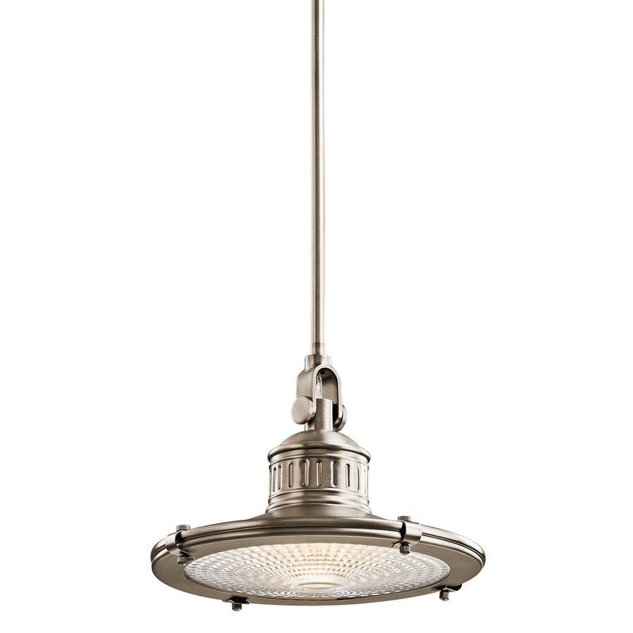 Kichler Sayre 12-in Antique Pewter Industrial Hardwired Single Textured Glass Warehouse Pendant