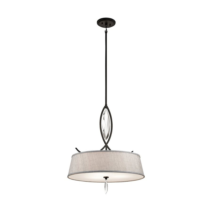 Kichler Lighting Casilda 22-in Olde Bronze Crystal Hardwired Single Etched Glass Drum Pendant