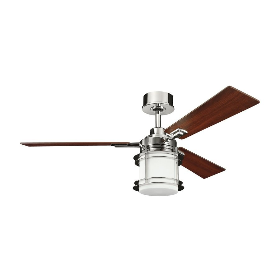 kichler ceiling fans lowes indoor outdoor kichler lighting pacific edge 52in polished nickel downrod mount indoor ceiling fan with light shop