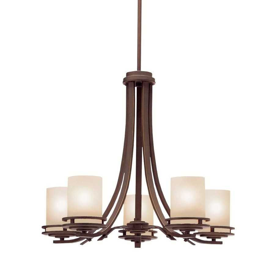 Kichler Hendrik 24.5-in 5-Light Olde Bronze Craftsman Etched Glass Shaded Chandelier