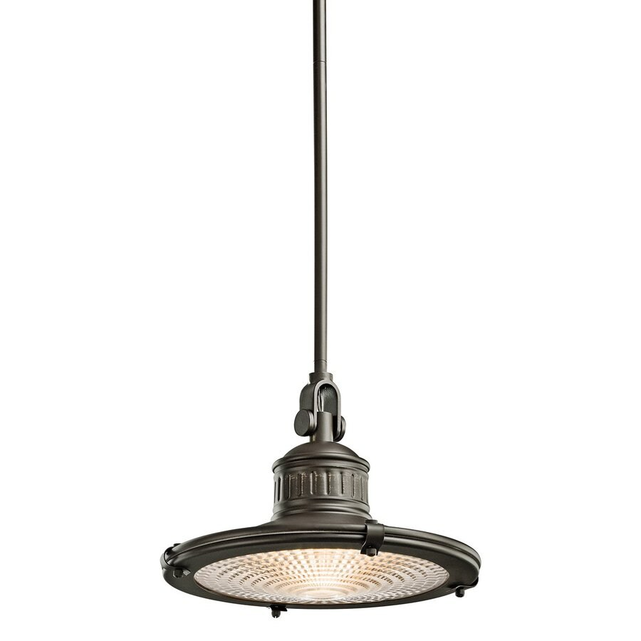 Kichler Lighting Sayre 12-in Olde Bronze Industrial Hardwired Single Textured Glass Warehouse Pendant