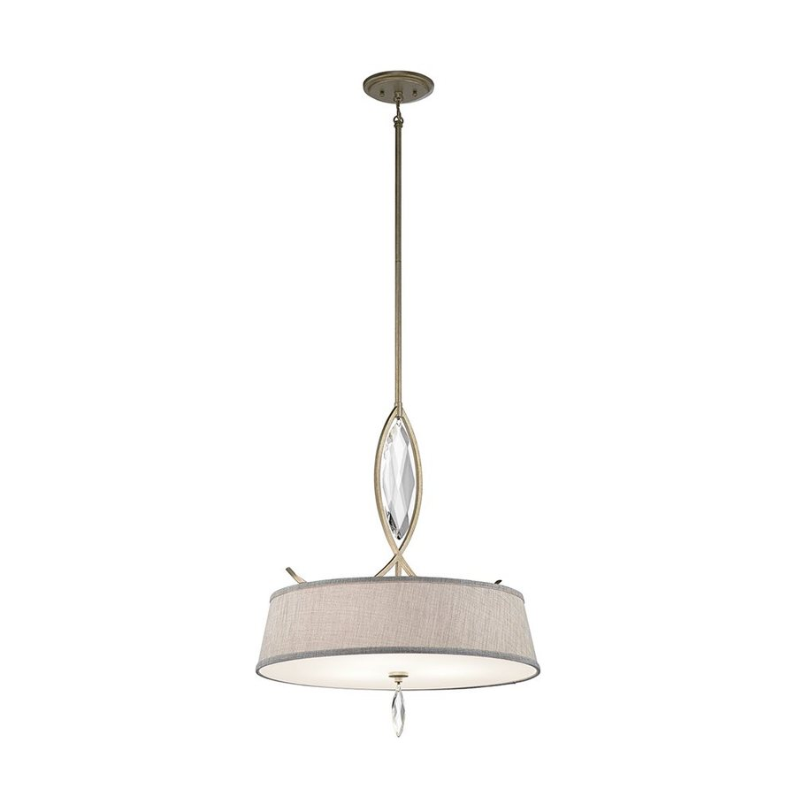 Kichler Lighting Casilda 22-in Sterling Gold Crystal Hardwired Single Etched Glass Drum Pendant