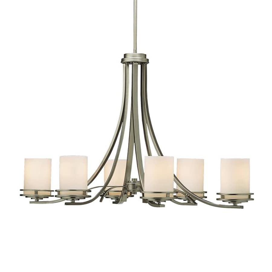 Kichler Hendrik 18-in 6-Light Brushed Nickel Etched Glass Shaded Chandelier