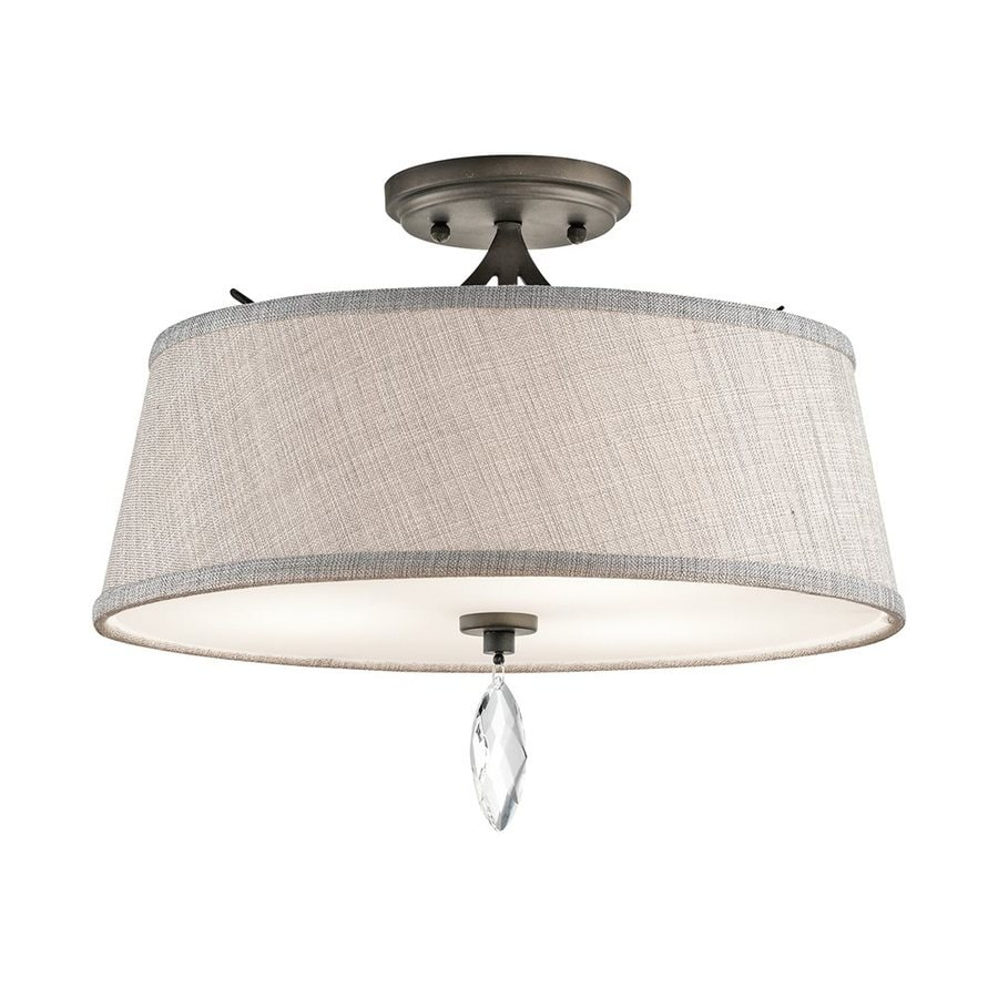 Kichler Casilda 16-in W Olde Bronze Fabric Semi-Flush Mount Light
