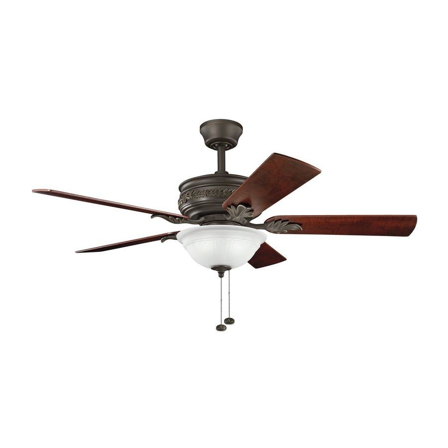 Kichler Lighting Athens 52-in Satin Natural Bronze Downrod or Close Mount Indoor Ceiling Fan with Light Kit (5-Blade)