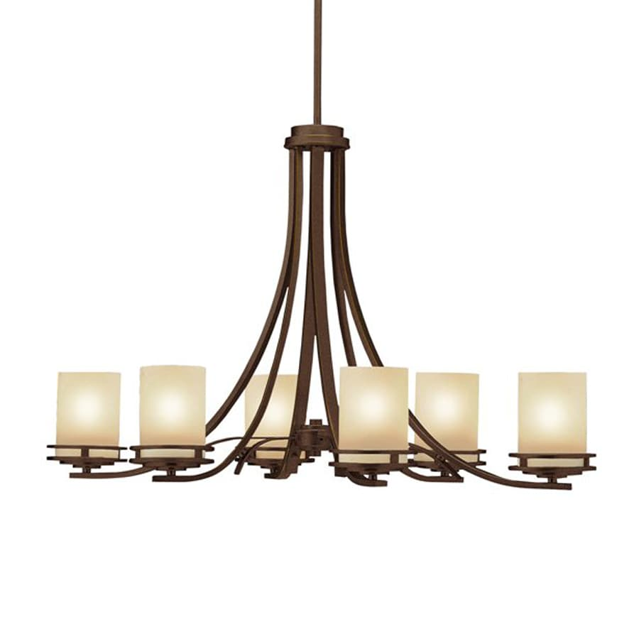 Kichler Hendrik 18-in 6-Light Olde bronze Craftsman Etched Glass Shaded Chandelier