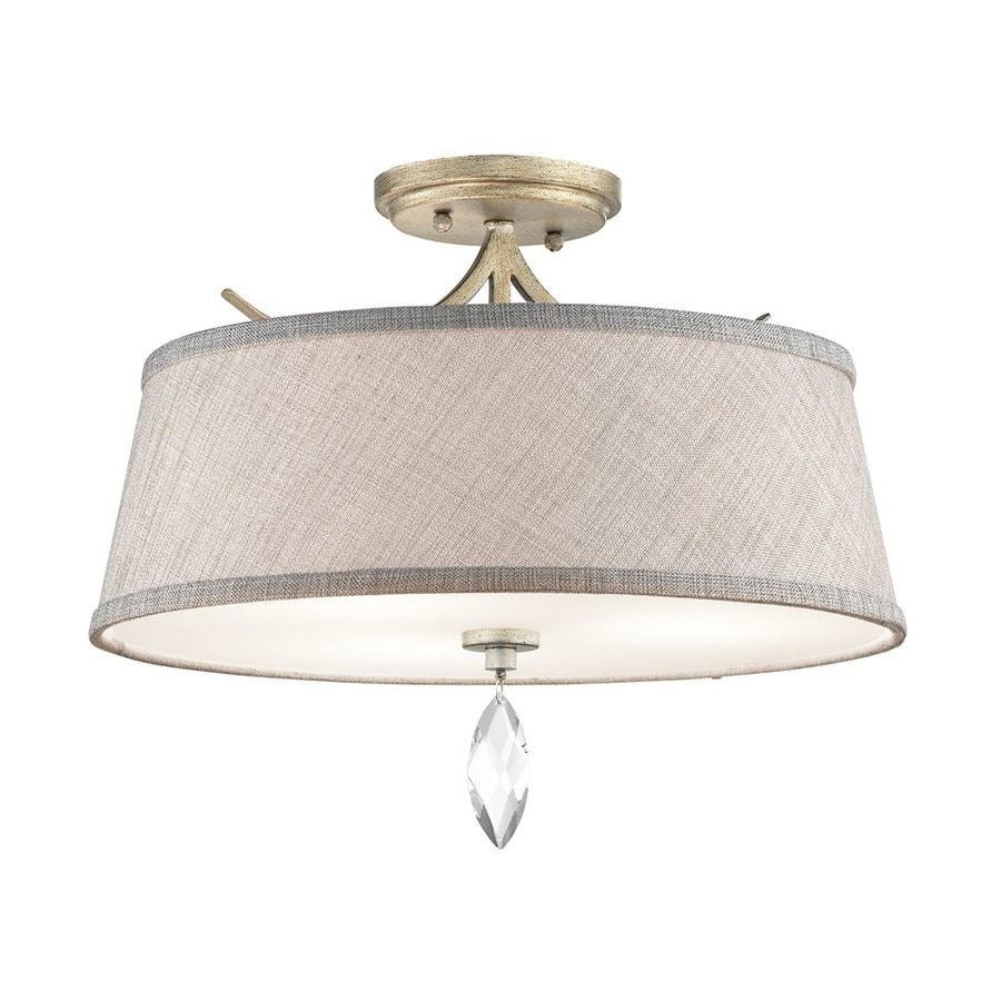 Kichler Casilda 16-in W Sterling Gold Fabric Crystal Accent Semi-Flush Mount Light